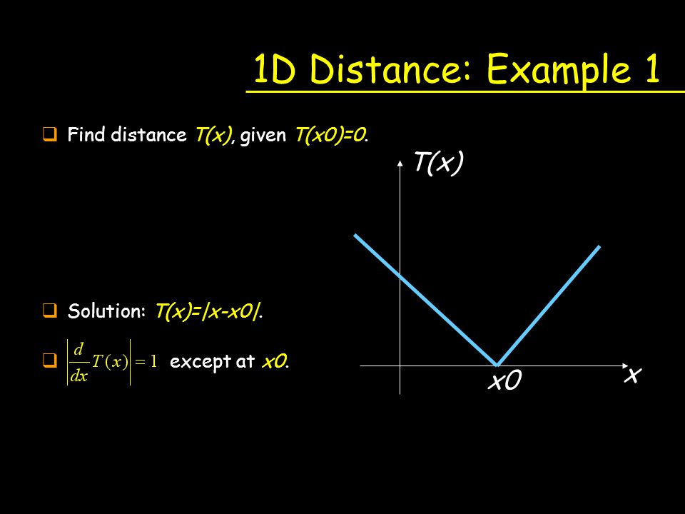 1D Distance: Example 1 T(x) x x0 Find distance T(x), given T(x0)=0.