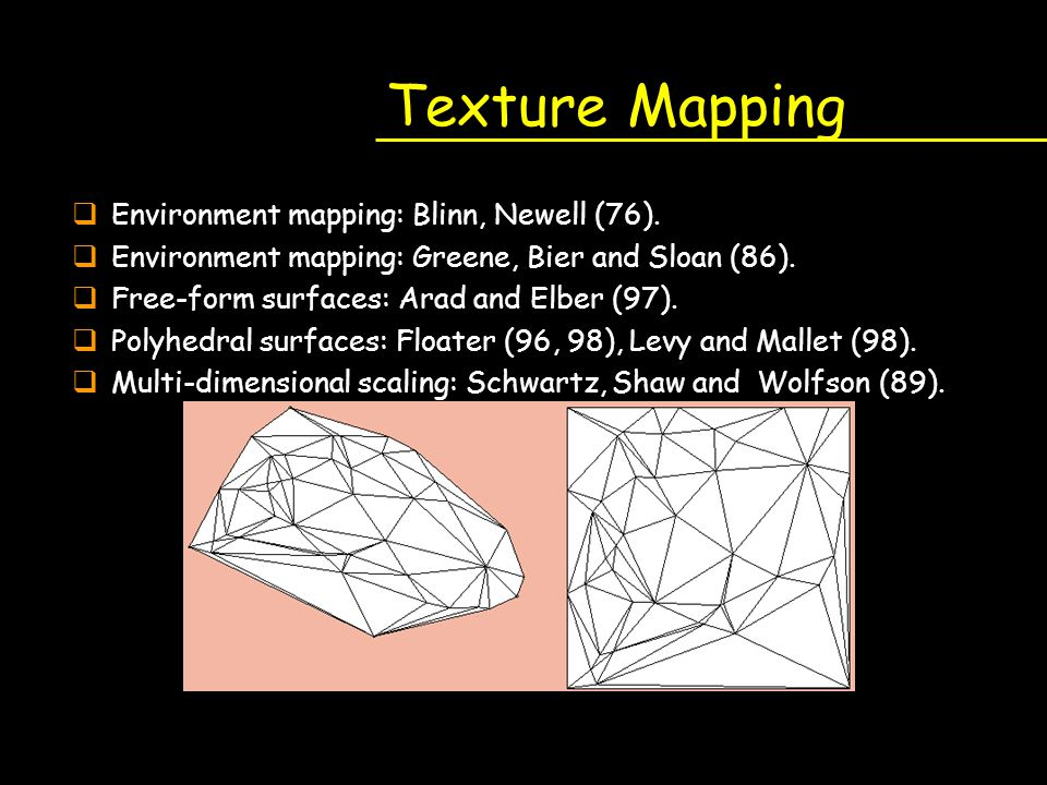 Texture Mapping Environment mapping: Blinn, Newell (76).