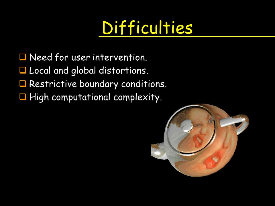 Difficulties Need for user intervention. Local and global distortions.