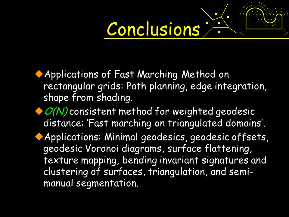 Conclusions Applications of Fast Marching Method on rectangular grids: Path planning, edge integration, shape from shading.