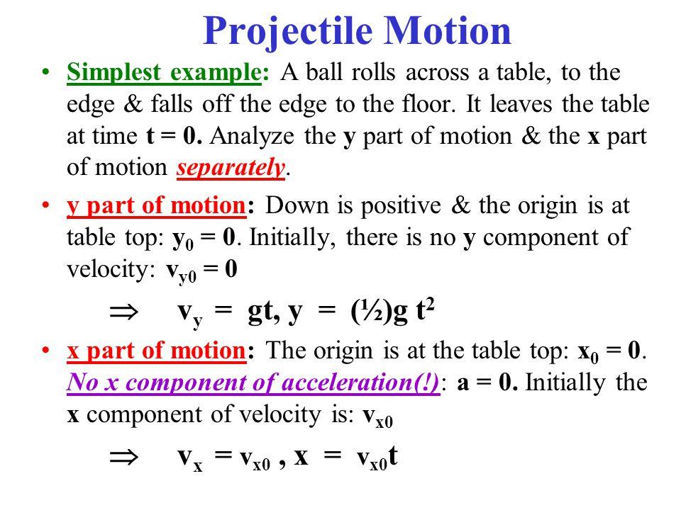 Projectile Motion  vy = gt, y = (½)g t2  vx = vx0 , x = vx0t