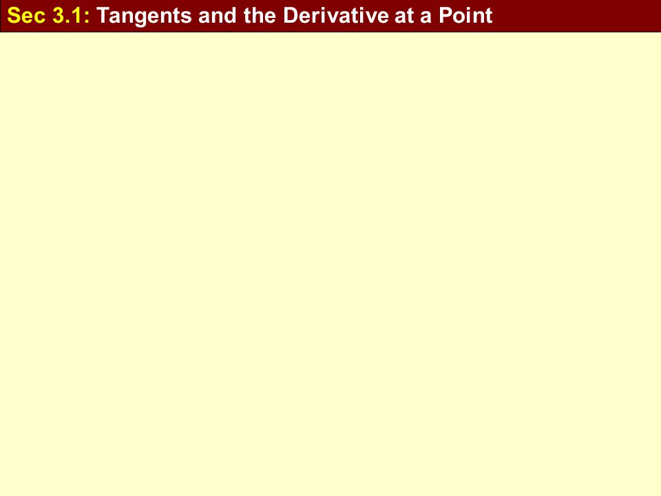 Sec 3.1: Tangents and the Derivative at a Point