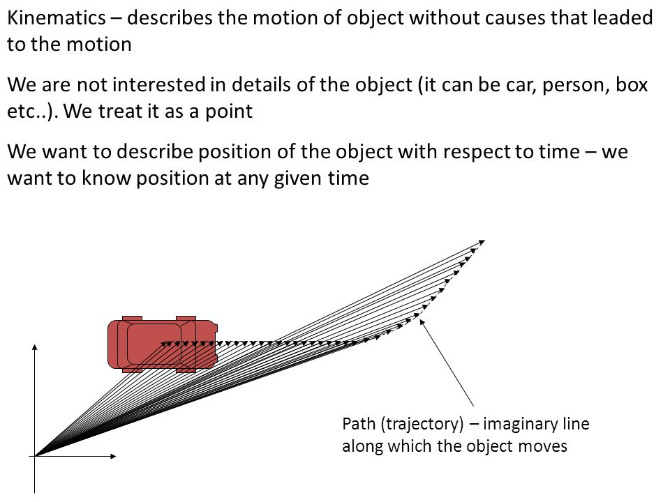 Kinematics – describes the motion of object without causes that leaded to the motion