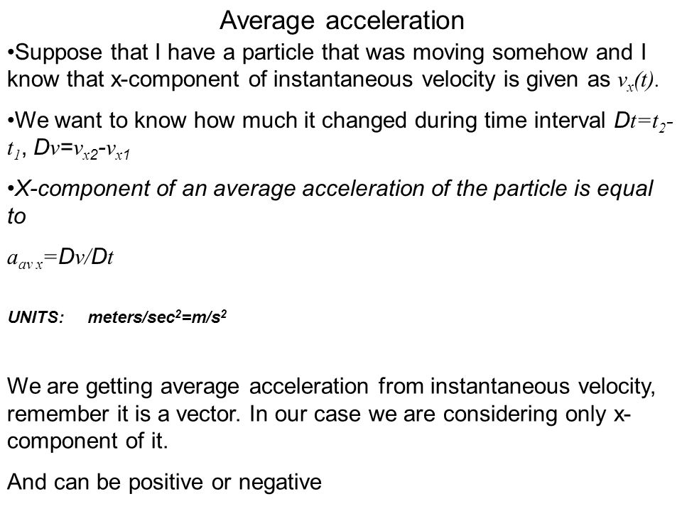 Average acceleration Suppose that I have a particle that was moving somehow and I know that x-component of instantaneous velocity is given as vx(t).
