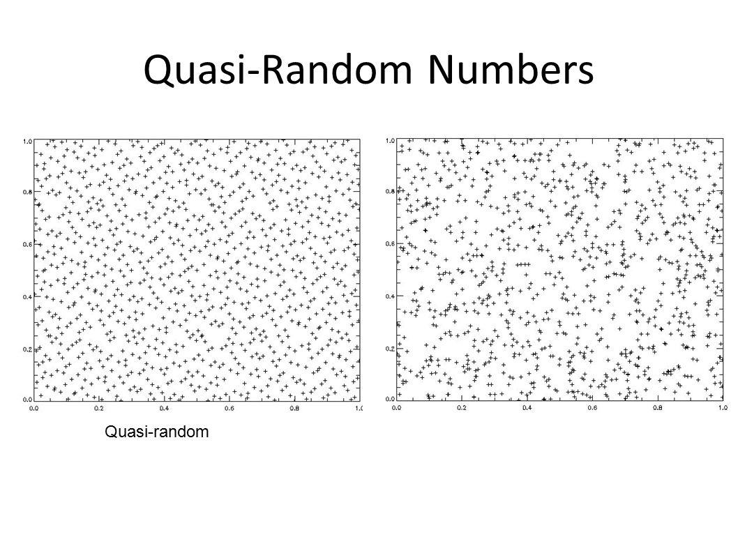 Quasi-Random Numbers Quasi-random Pseudo-random