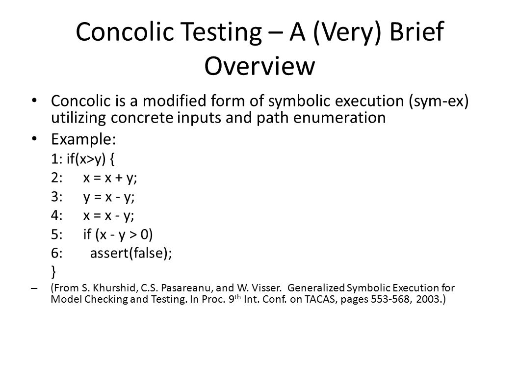 Concolic Testing – A (Very) Brief Overview