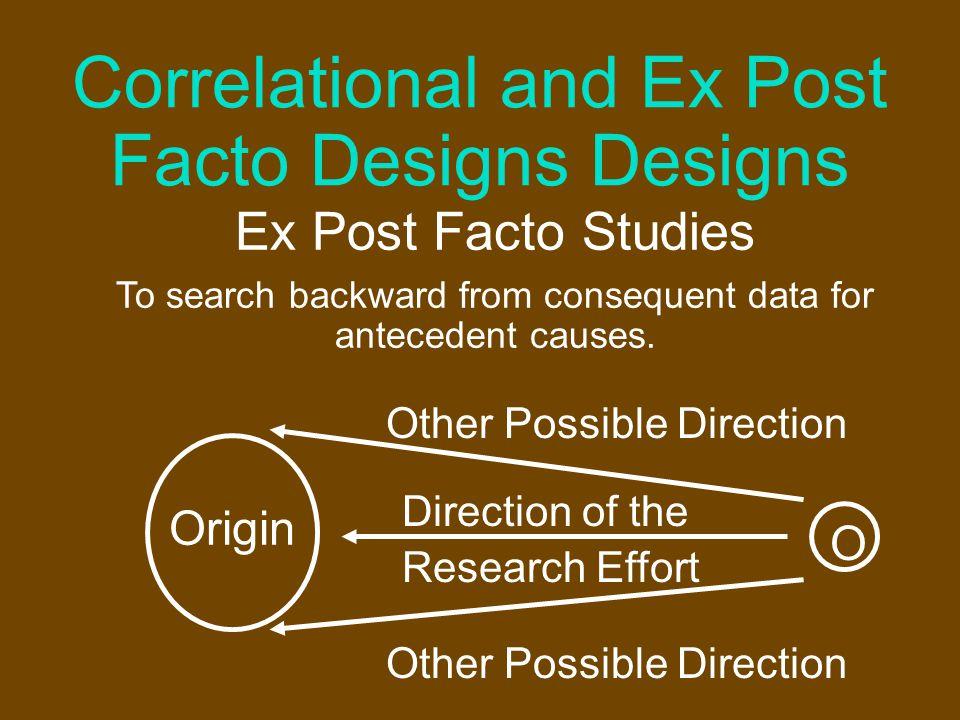 Correlational and Ex Post Facto Designs Designs