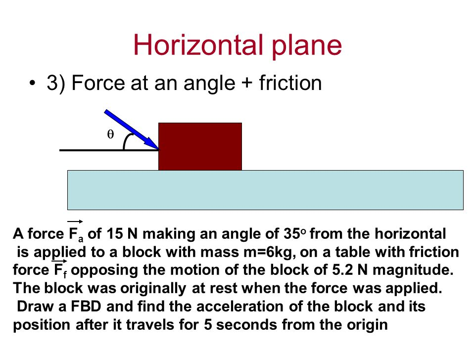 Horizontal plane 3) Force at an angle + friction