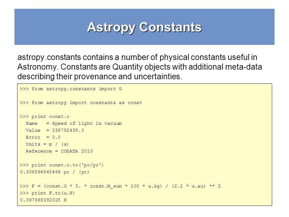 Astropy Constants