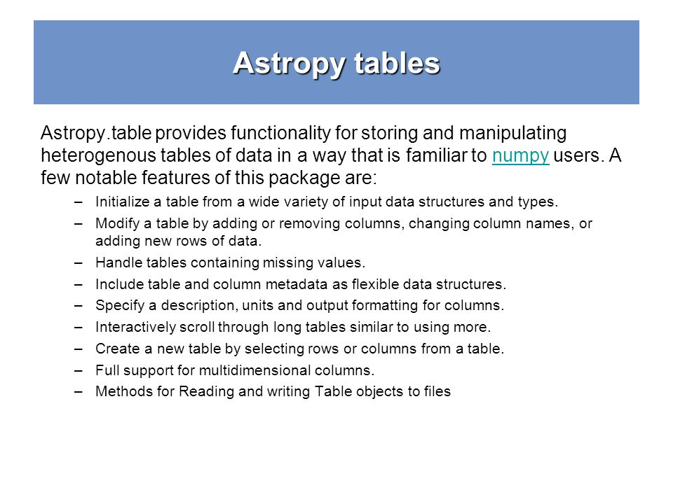 Astropy tables