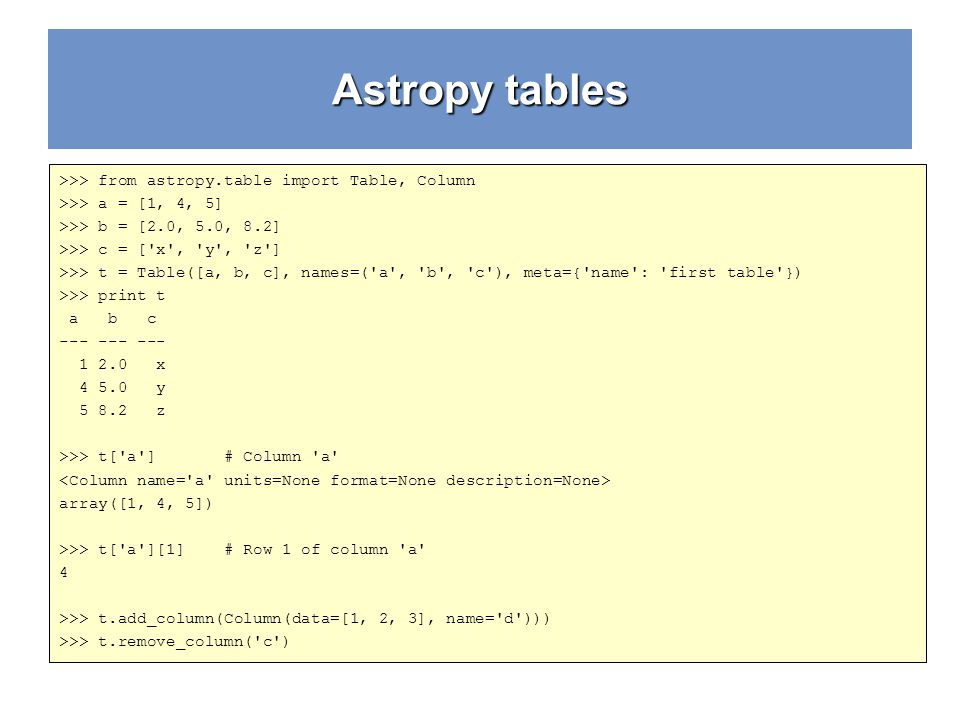 Astropy tables >>> from astropy.table import Table, Column