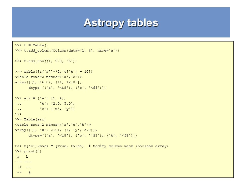 Astropy tables >>> t = Table()