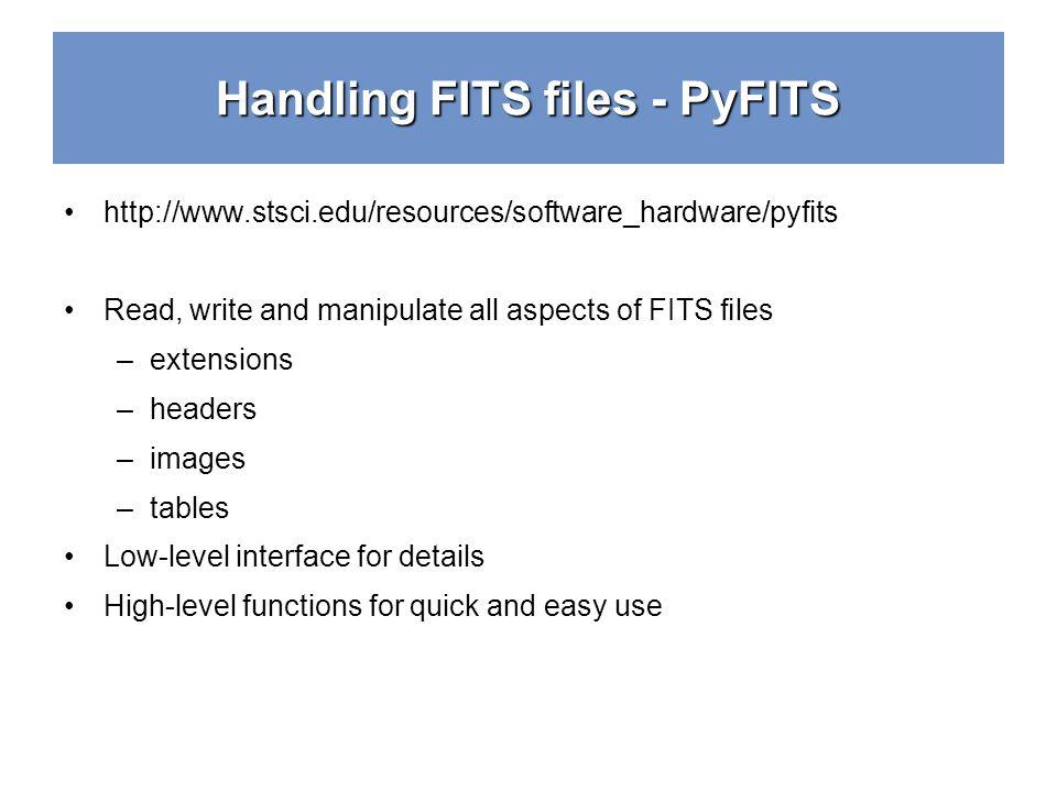 Handling FITS files - PyFITS