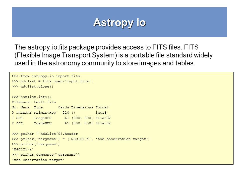 Astropy io