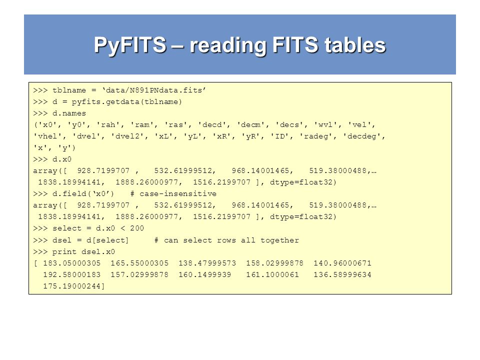 PyFITS – reading FITS tables