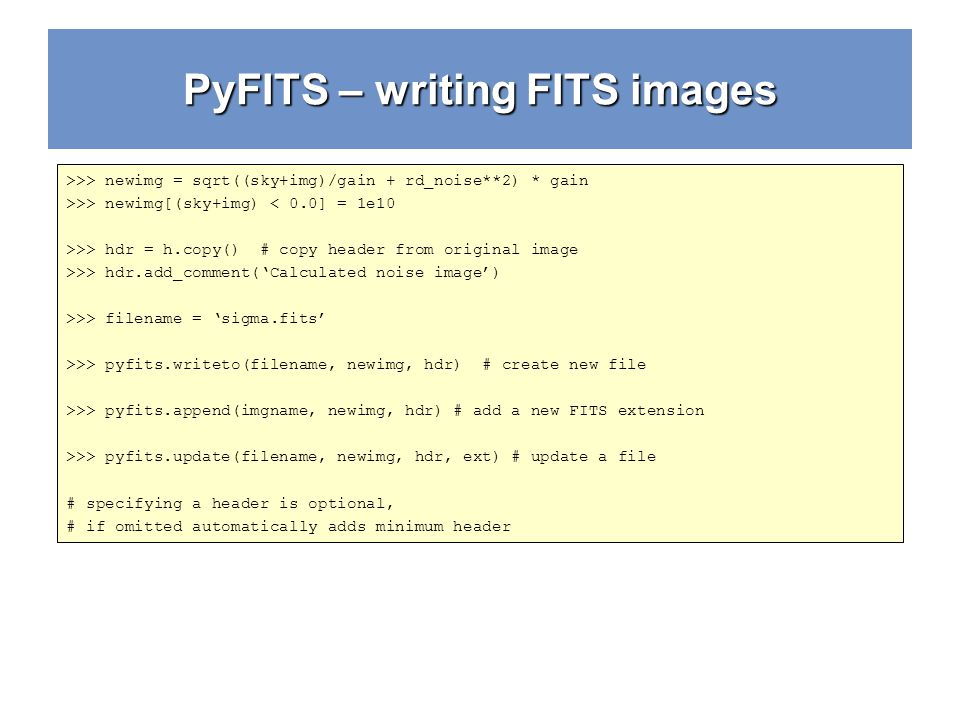 PyFITS – writing FITS images