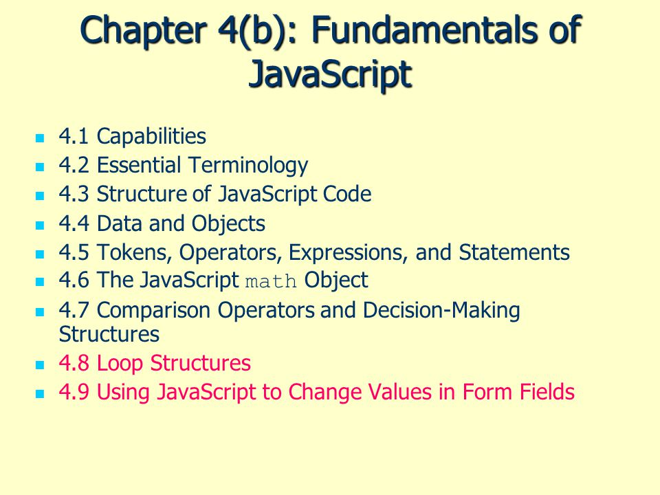 Chapter 4(b): Fundamentals of JavaScript
