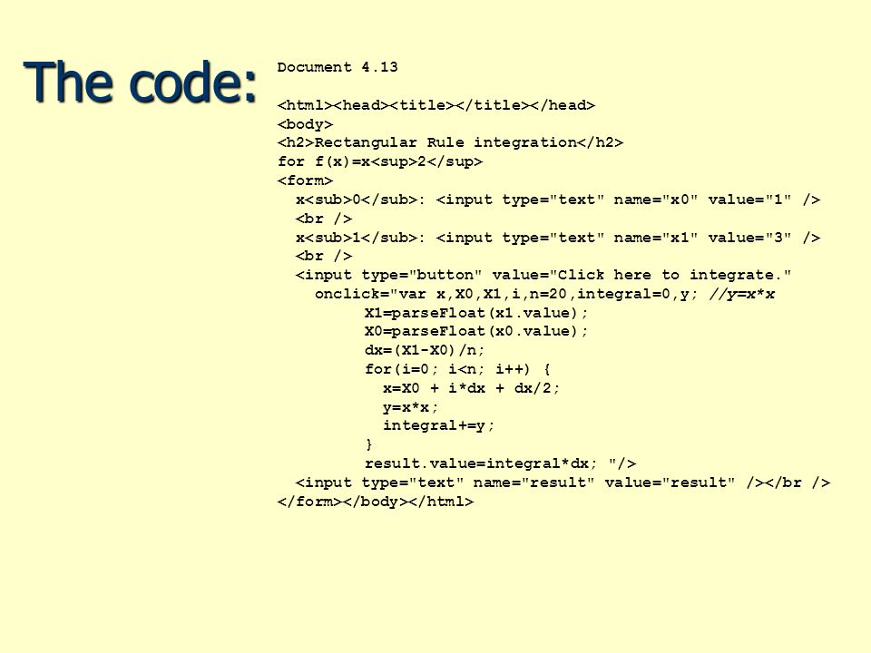 The code: Document