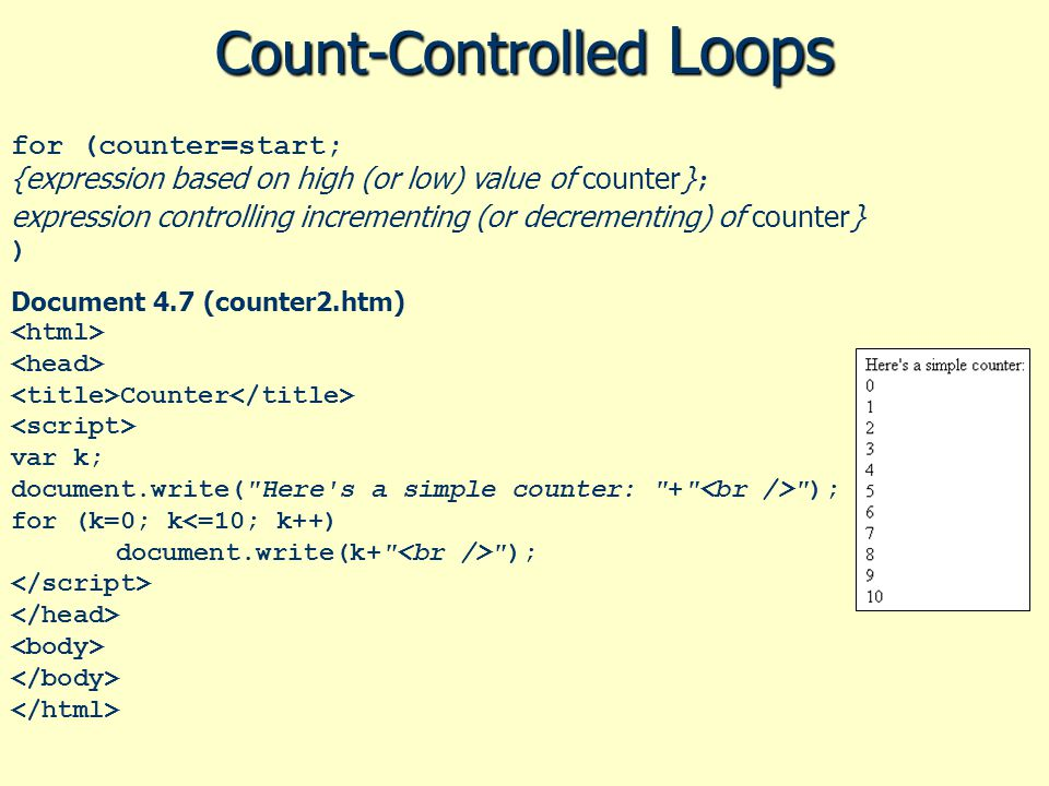 Count-Controlled Loops