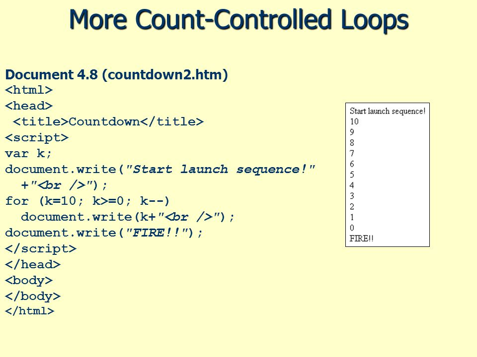 More Count-Controlled Loops