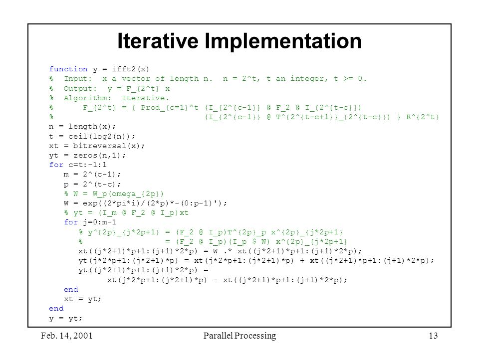 Iterative Implementation