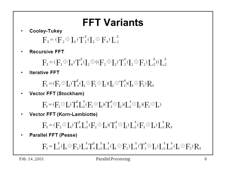 FFT Variants Cooley-Tukey Recursive FFT Iterative FFT