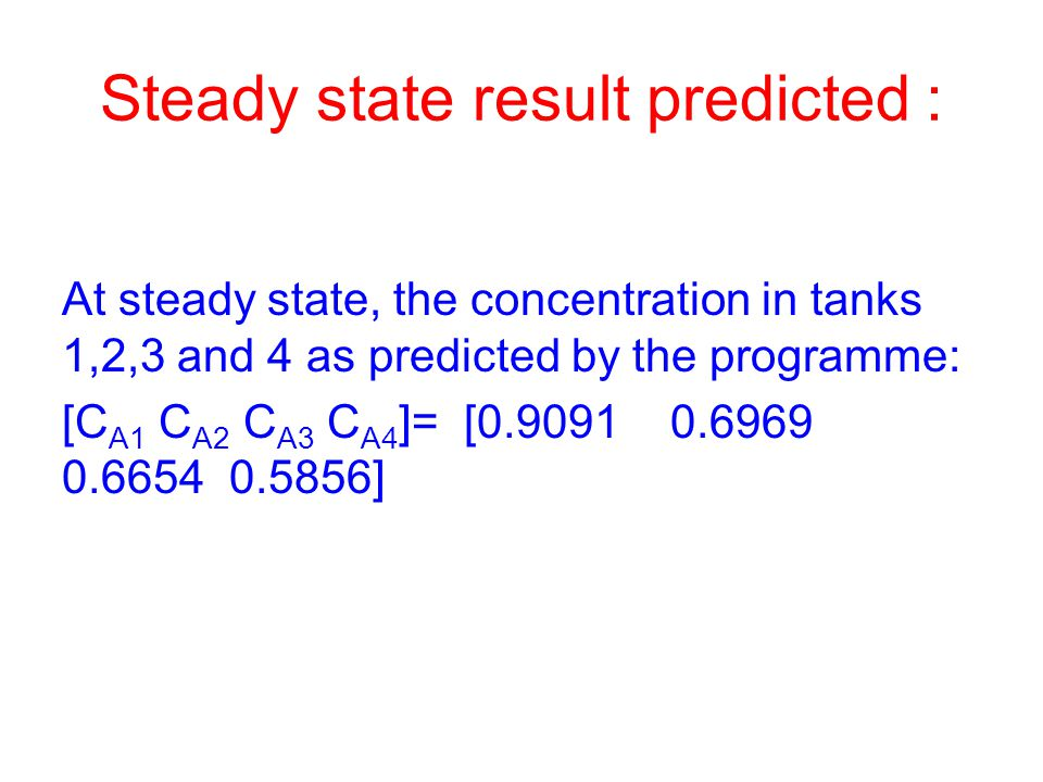 Steady state result predicted :