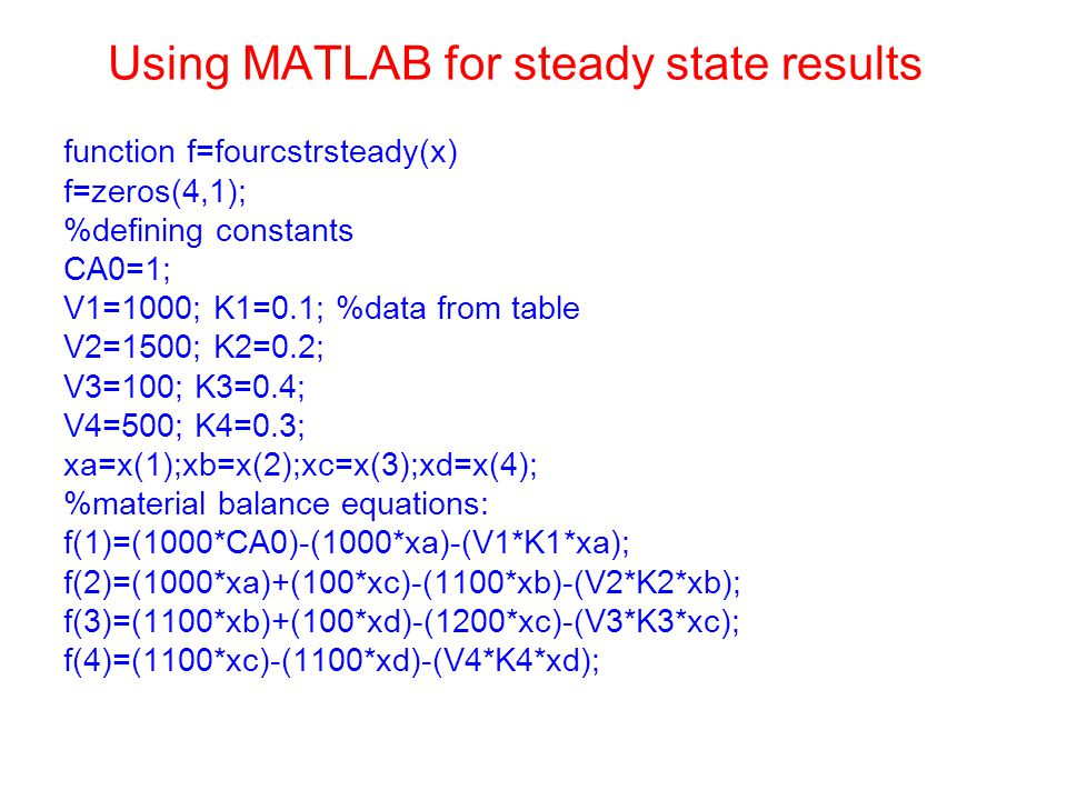 Using MATLAB for steady state results