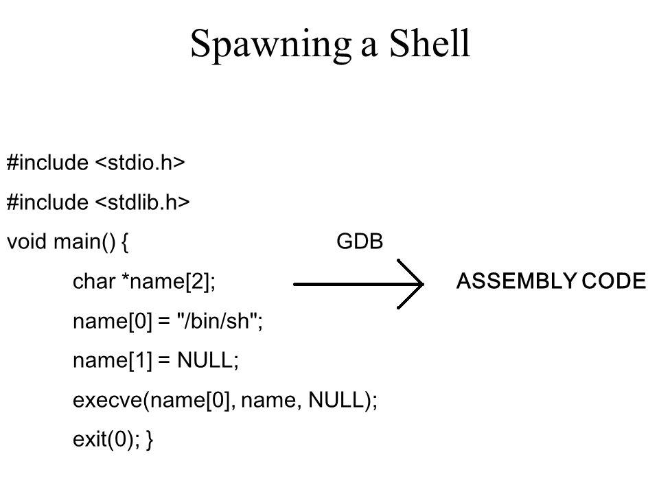 Spawning a Shell #include <stdio.h> #include <stdlib.h>