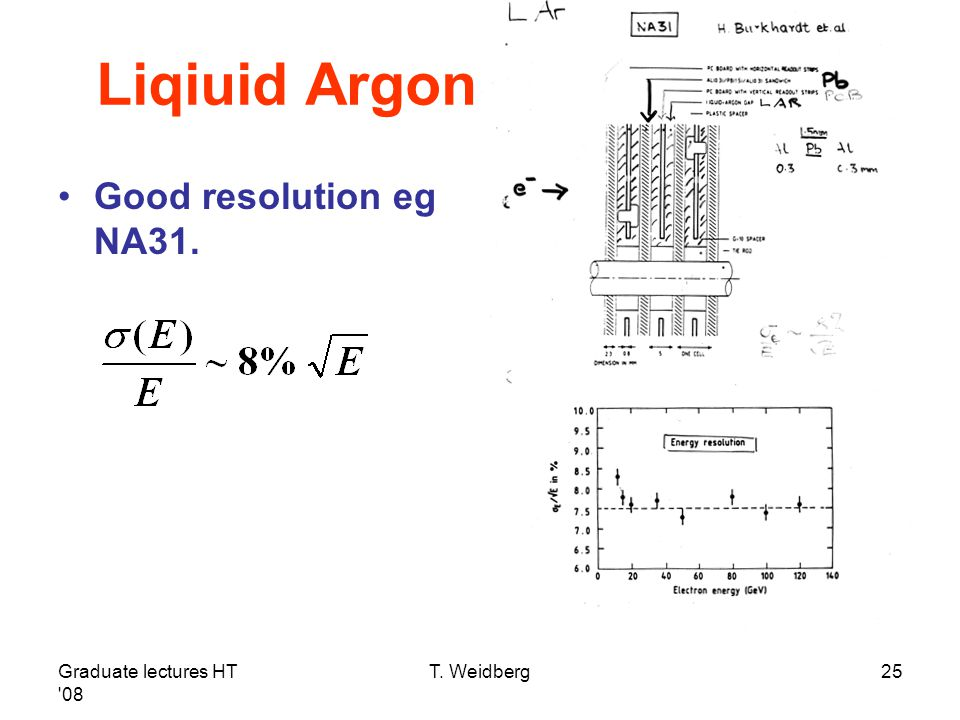 Liqiuid Argon Good resolution eg NA31. Graduate lectures HT 08