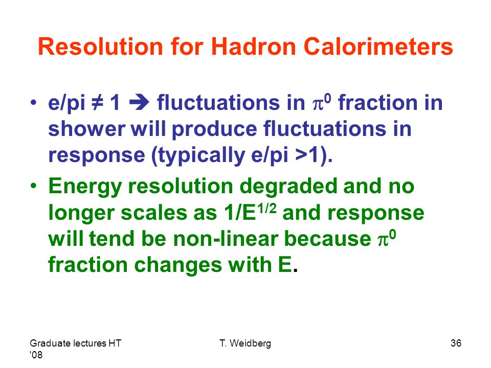 Resolution for Hadron Calorimeters