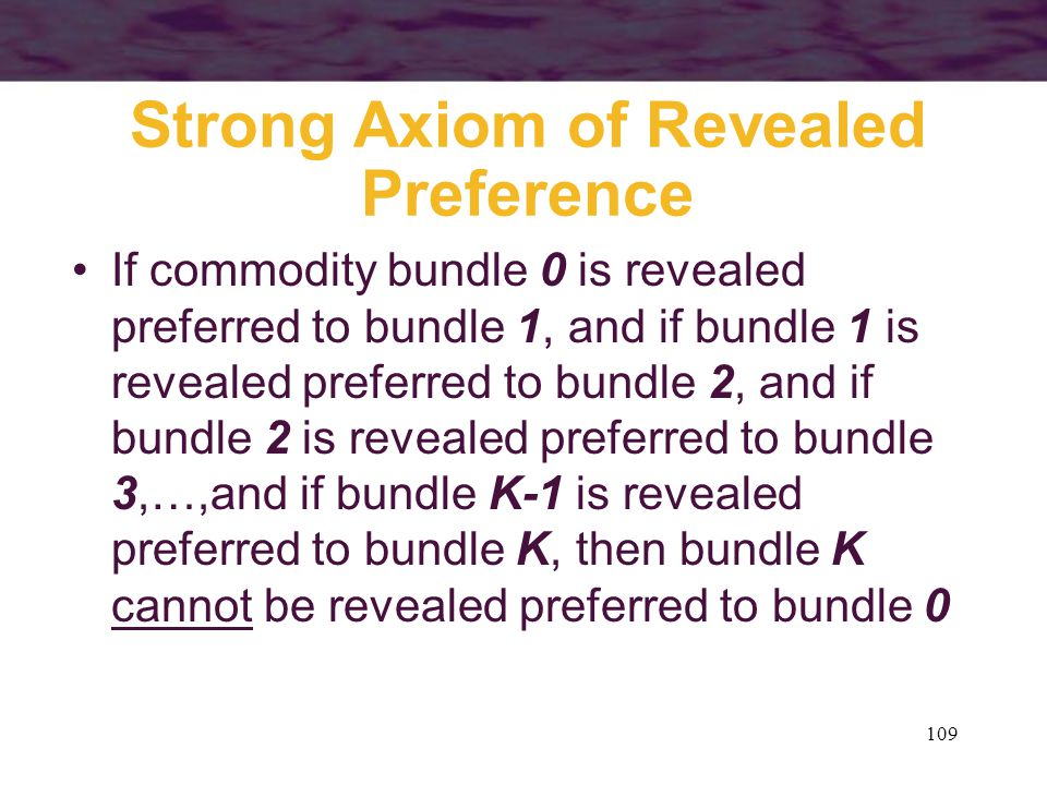 Strong Axiom of Revealed Preference