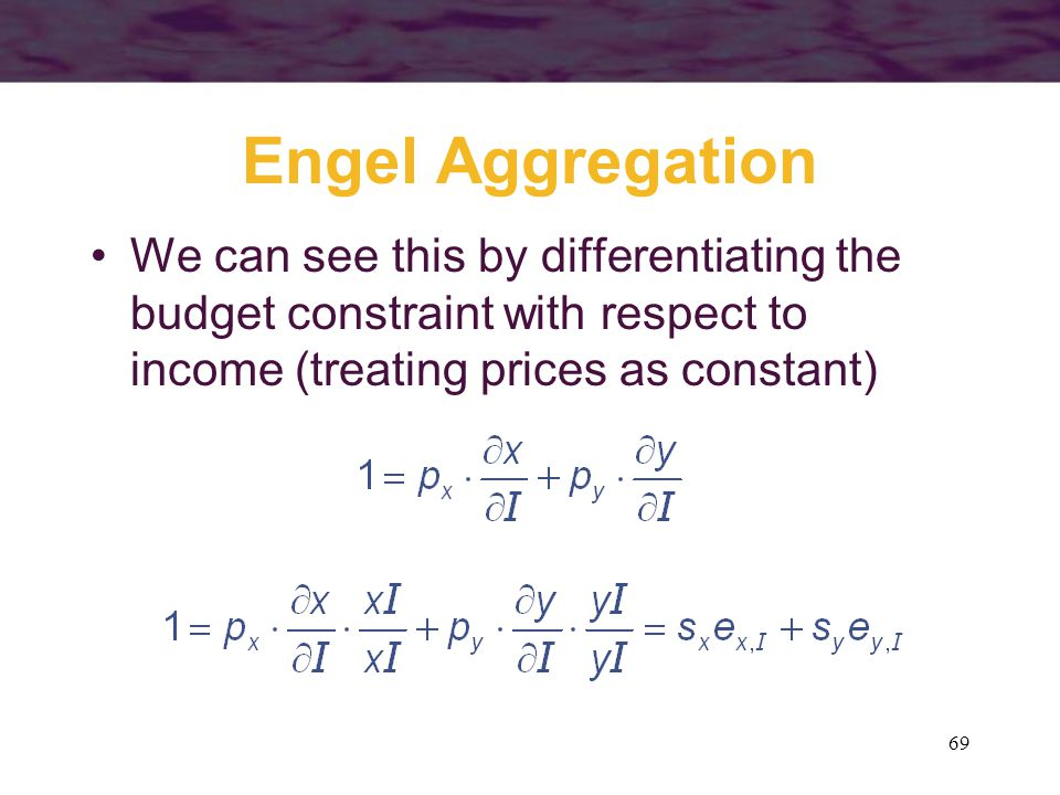 Engel Aggregation We can see this by differentiating the budget constraint with respect to income (treating prices as constant)