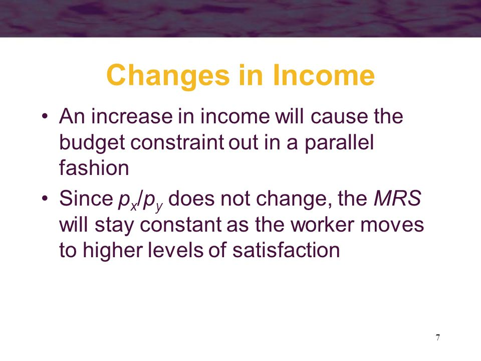 Changes in Income An increase in income will cause the budget constraint out in a parallel fashion.