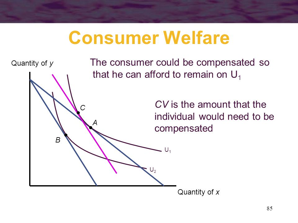 Consumer Welfare The consumer could be compensated so
