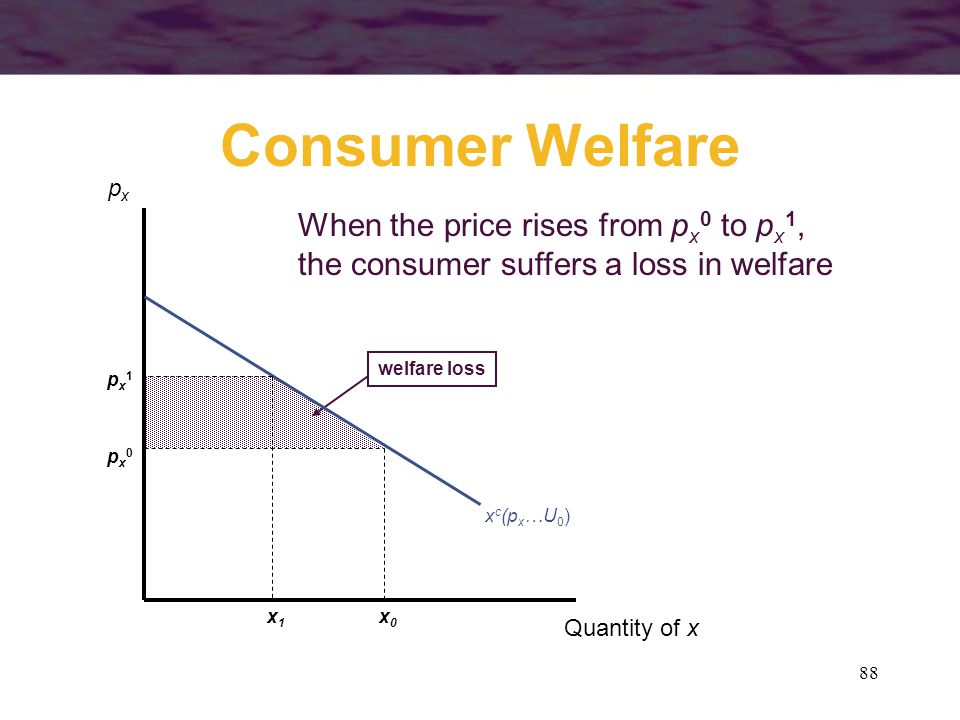 Consumer Welfare When the price rises from px0 to px1,