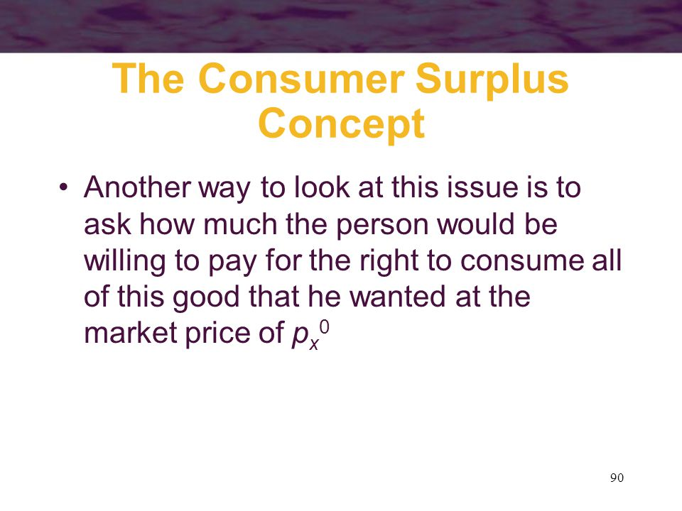 The Consumer Surplus Concept