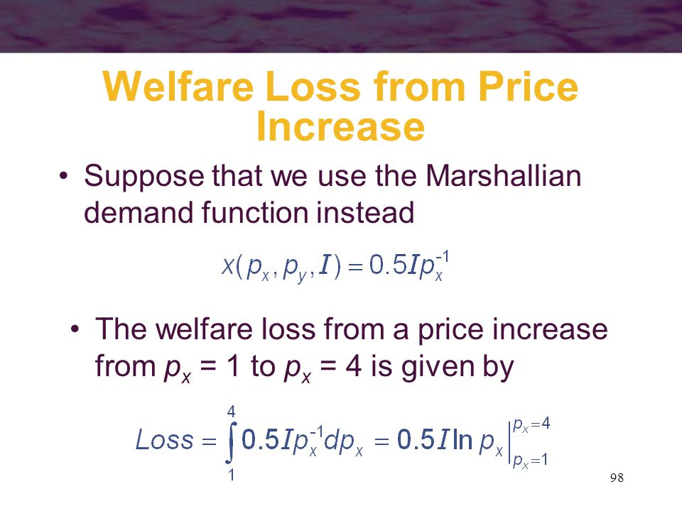 Welfare Loss from Price Increase