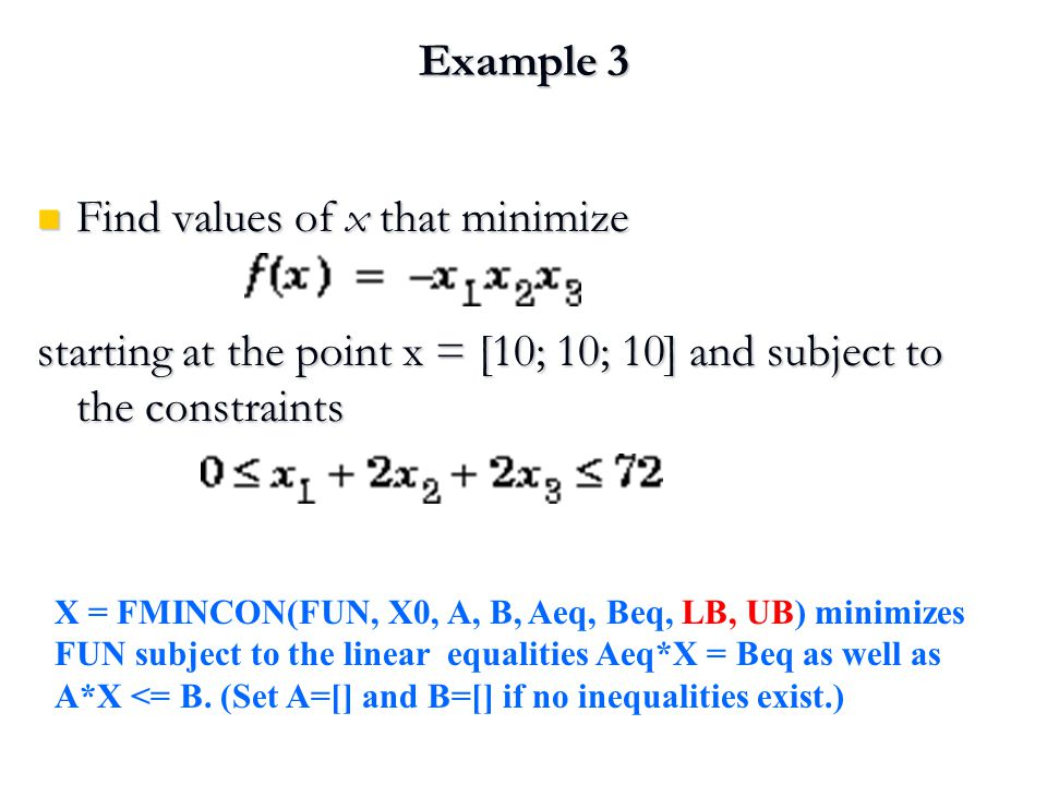 Find values of x that minimize
