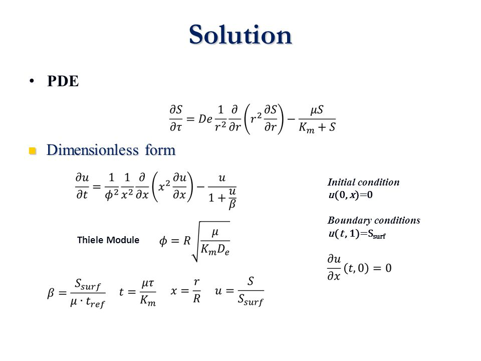 Solution PDE Dimensionless form Initial condition u(0, x)=0