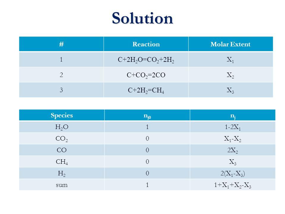Solution # Reaction Molar Extent 1 C+2H2O=CO2+2H2 X1 2 C+CO2=2CO X2 3