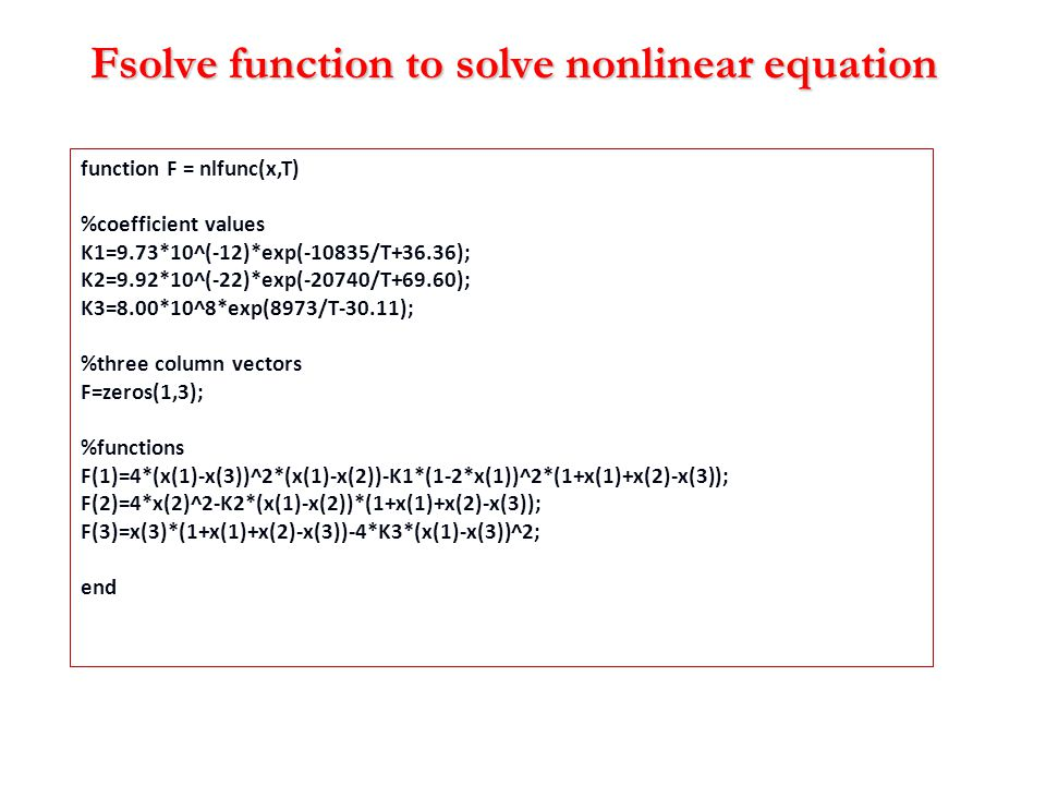 Fsolve function to solve nonlinear equation