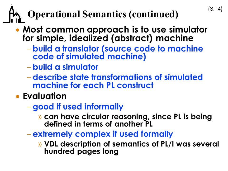 Operational Semantics (continued)