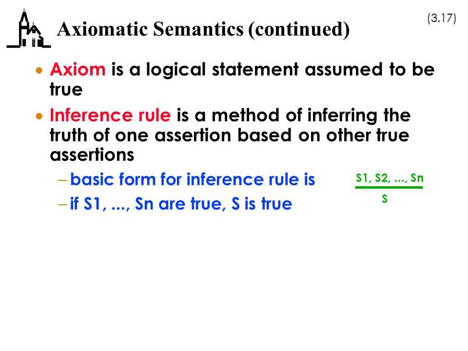 Axiomatic Semantics (continued)