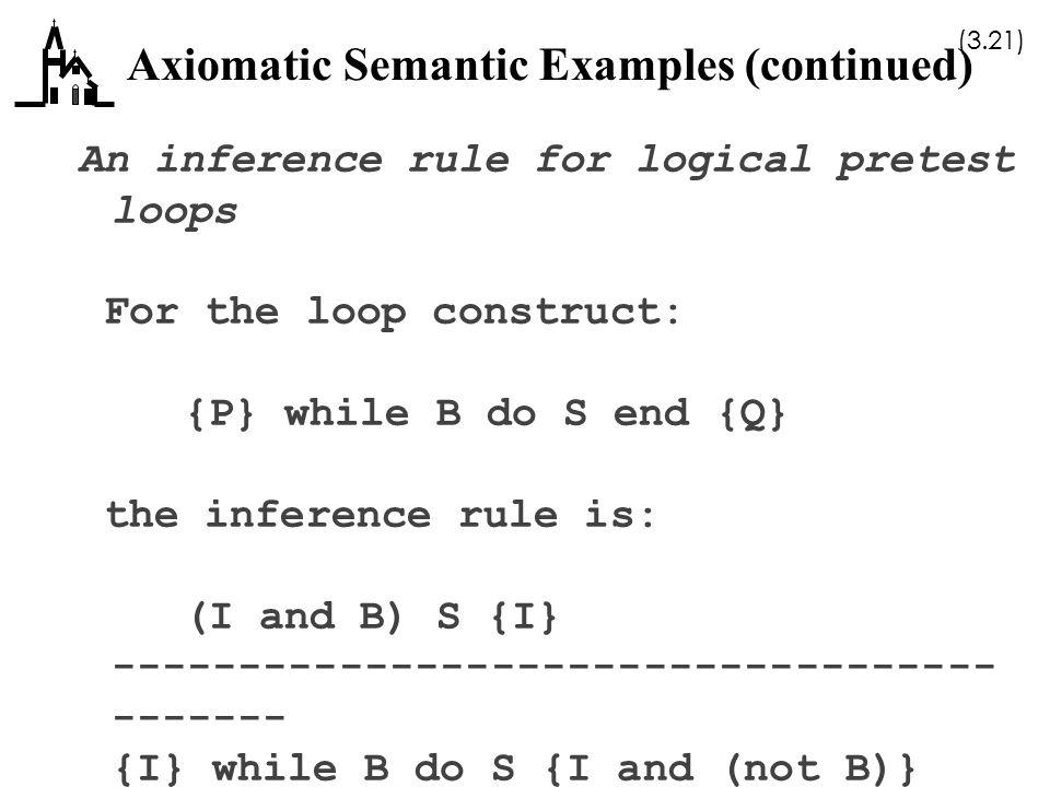 Axiomatic Semantic Examples (continued)