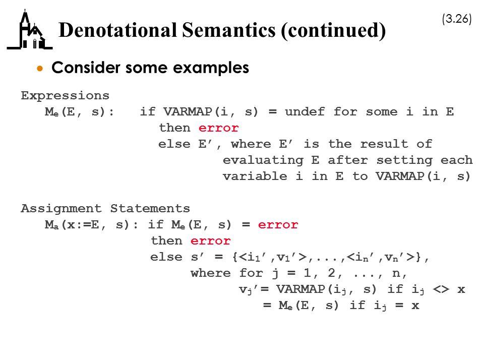 Denotational Semantics (continued)