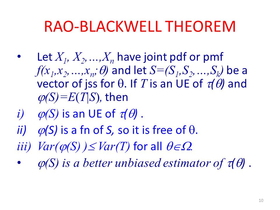 RAO-BLACKWELL THEOREM