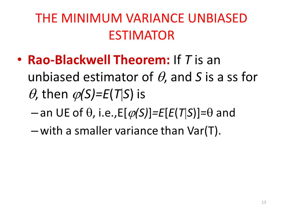 THE MINIMUM VARIANCE UNBIASED ESTIMATOR