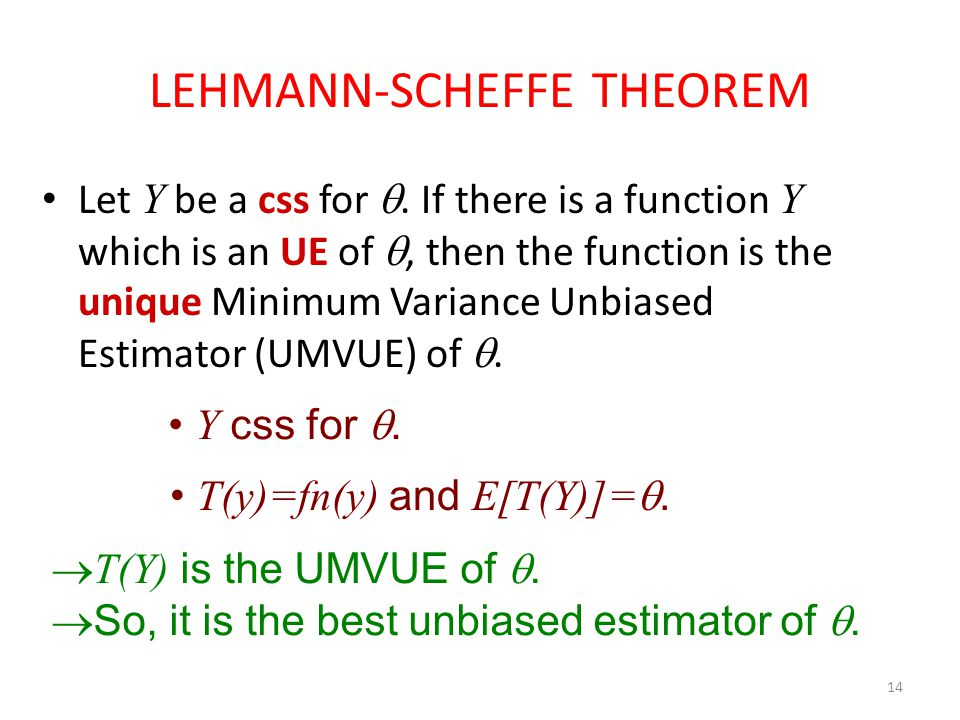LEHMANN-SCHEFFE THEOREM