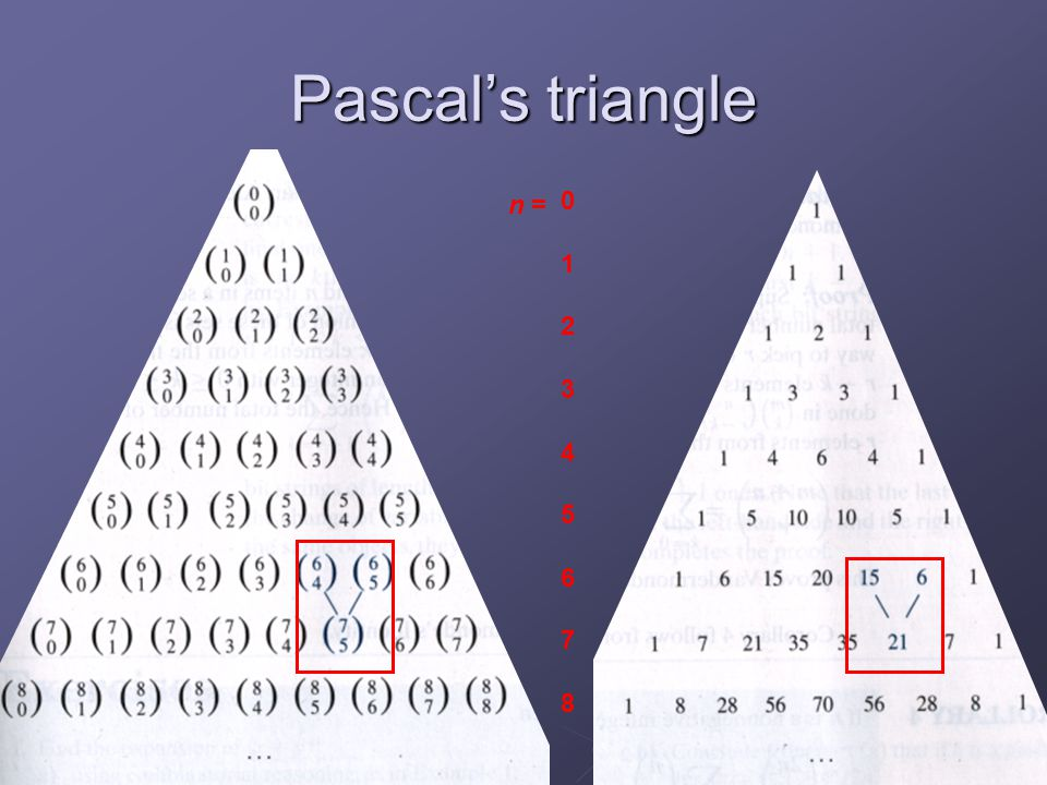 Pascal's triangle 1 2 3 4 5 6 7 8 n =